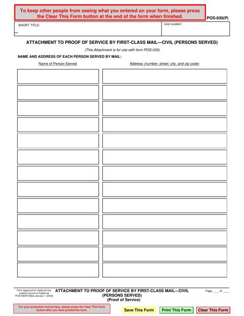 Form POS-030(p)  Printable Pdf