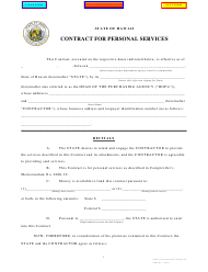 "Form D-45 ""Contract for Personal Services"" - Hawaii"