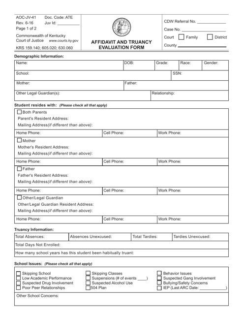 Form AOC-JV-41  Printable Pdf
