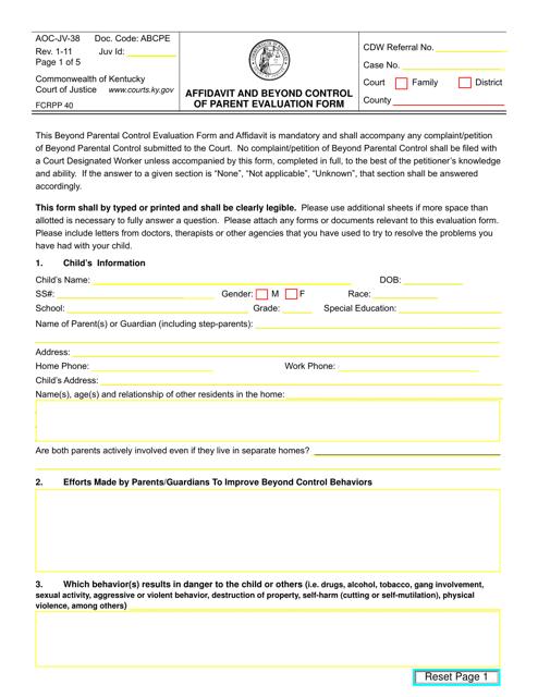 Form AOC-JV-38  Printable Pdf
