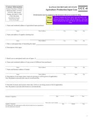 """Form UCC-4 """"Agriculture Production Input Lien"""" - Kansas"""
