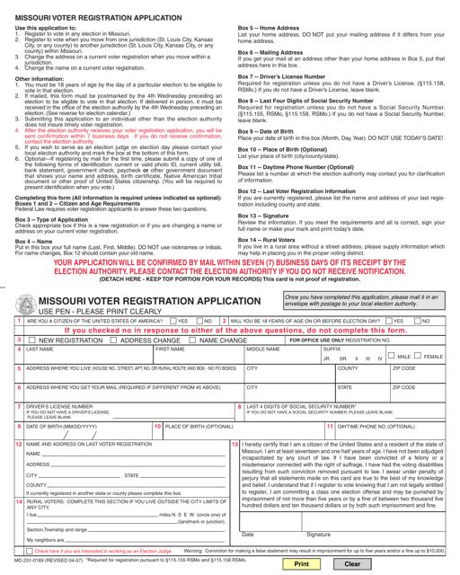 Form MO231-0169 Printable Pdf