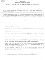 """Form Cfs403-d """"Adoptive Parents' Rights and Responsibilities in Illinois"""" - Illinois"""
