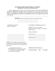 """Statutory Short Form Power of Attorney Minnesota Statutes, Section 523.23"" - Minnesota"