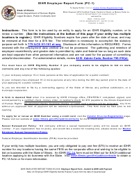"""Form PC-1 """"Idhr Employer Report Form"""" - Illinois"""
