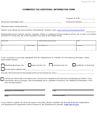 """""""Commerce Tax Additional Information Form"""" - Nevada"""