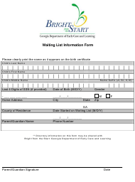 """Waiting List Information Form"" - Georgia (United States)"