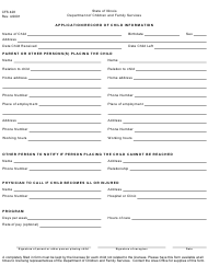"""Form Cfs428 """"Application/Record of Child Information"""" - Illinois"""