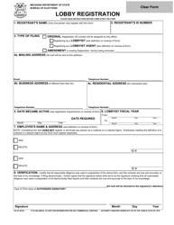 "Form LR-1E ""Lobby Registration"" - Michigan"