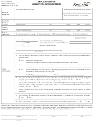 Form 51A112 Application for Direct Pay Authorization - Kentucky