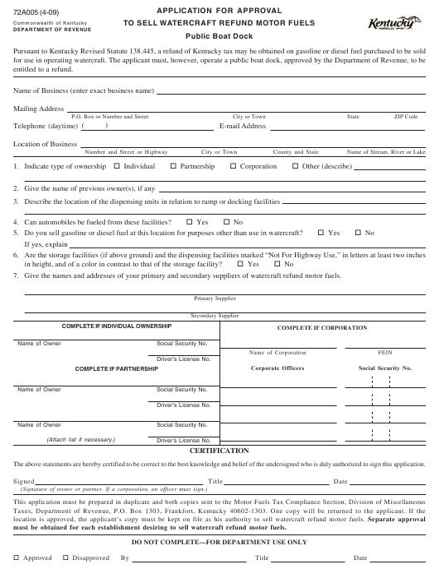 Form 72A005 Printable Pdf
