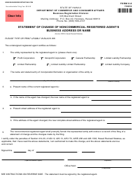 "Form X-8 ""Statement of Change of Noncommercial Registered Agent's Business Address or Name"" - Hawaii"