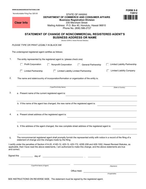 Form X-8  Printable Pdf