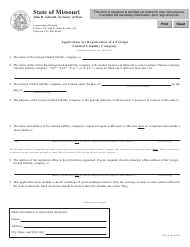 """Form LLC-4 """"Application for Registration of a Foreign Limited Liability Company"""" - Missouri"""
