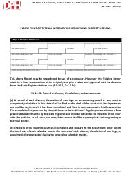 """Form 3907 """"Report of Divorce, Annulment or Dissolution of Marriage"""" - Georgia (United States)"""