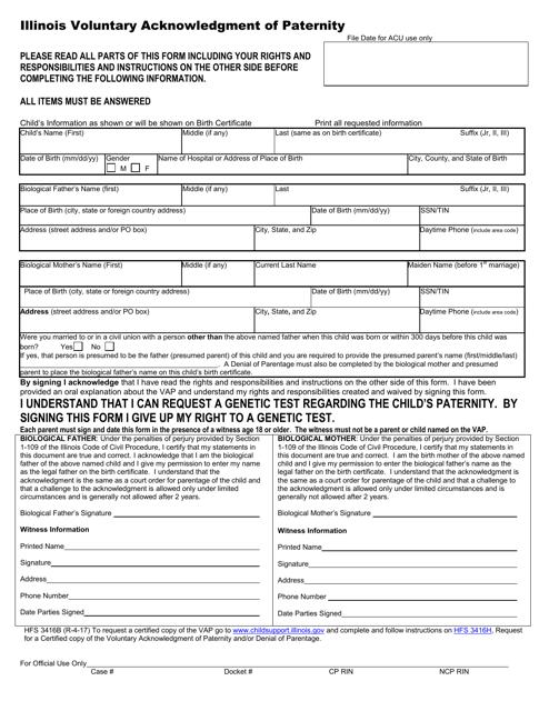 Form HFS3416B  Printable Pdf