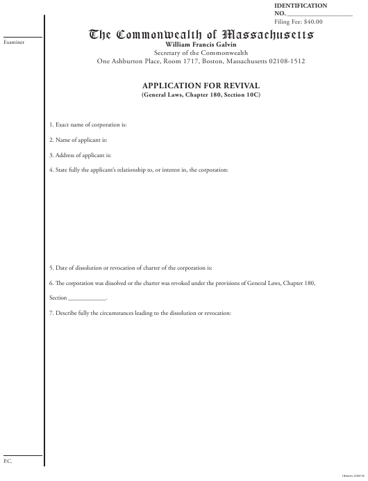 """""""Application for Revival (General Laws, Chapter 180, Section 10c)"""" - Massachusetts Download Pdf"""