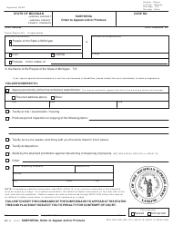 "Form MC11 ""Subpoena, Order to Appear and/Or Produce"" - Michigan"