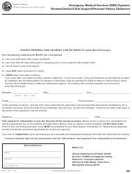 "Form IOCI17-149 ""Renewal Notice/Child Support/Personal History Statement - Emergency Medical Services (EMS) Systems"" - Illinois"