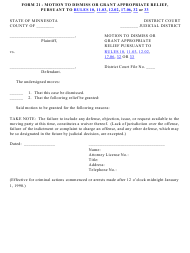 "Form 21 ""Motion to Dismiss or Grant Appropriate Relief, Pursuant to Rules 10, 11.03, 12.02, 17.06, 32 or 33"" - Minnesota"