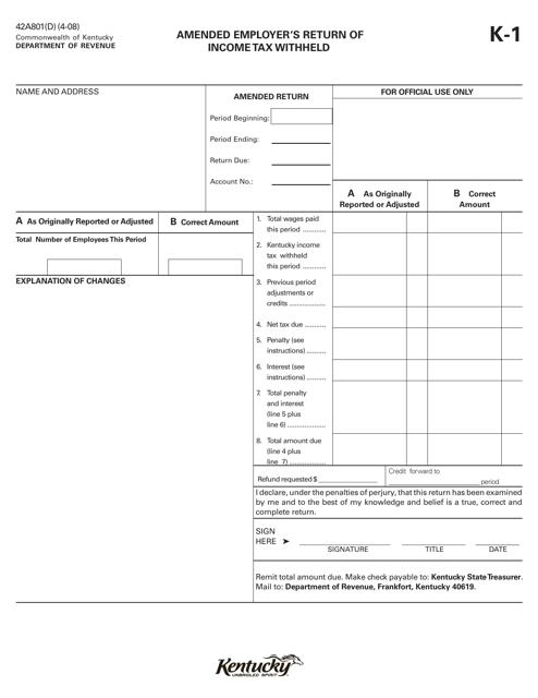 Form 42A801(D) Fillable Pdf