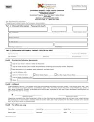 "Form COT/ST912 ""Unclaimed Property Claim Form & Checklist"" - Maryland"