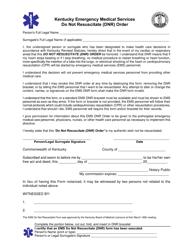 """Do Not Resuscitate (DNR) Order Form - Kentucky Emergency Medical Services"" - Kentucky"