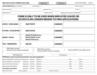 "FMIS Form TERM03 ""FMIS Application Termination Form"" - Maryland"