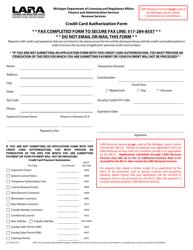 Form LCC-300 Credit Card Authorization Form - Michigan