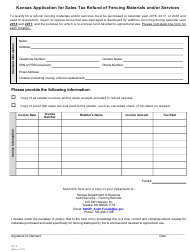 "Form ST-3 ""Kansas Application for Sales Tax Refund of Fencing Materials and/or Services"" - Kansas"