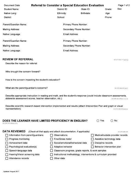 """""""Referral to Consider a Special Education Evaluation"""" - Idaho Download Pdf"""