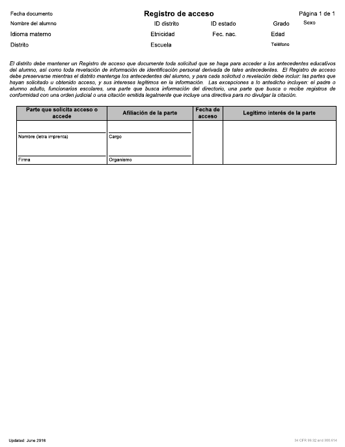 """""""Registro De Acceso"""" - Idaho (Spanish) Download Pdf"""