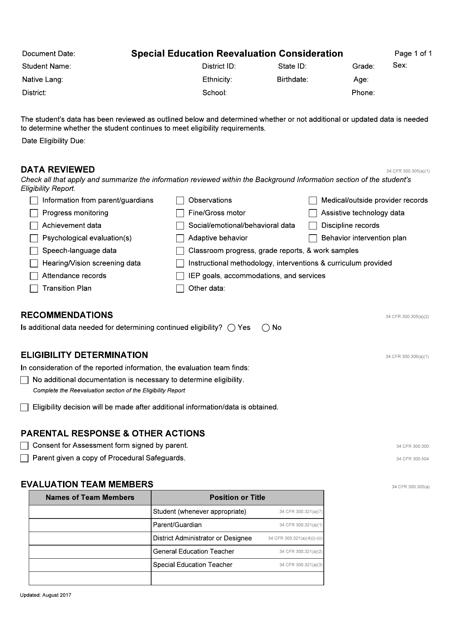 """Special Education Reevaluation Consideration"" - Idaho Download Pdf"