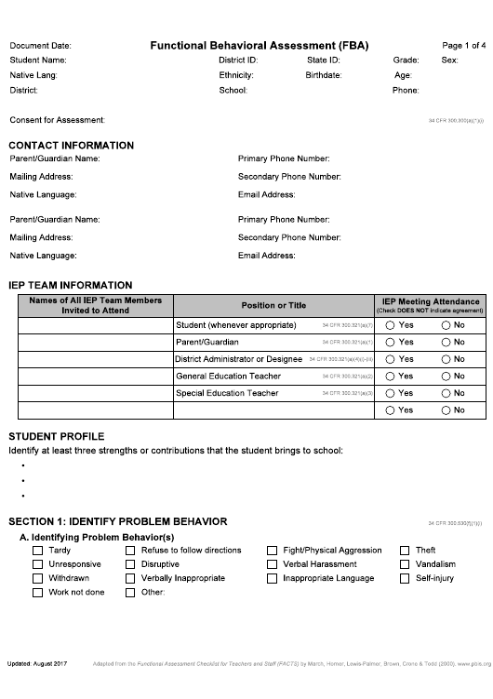 """Functional Behavioral Assessment (Fba)"" - Idaho Download Pdf"