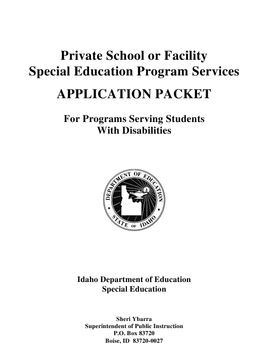 """""""Application Packet for Private Schools or Facilities Providing Special Education Services"""" - Idaho Download Pdf"""