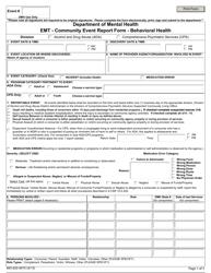 "Form MO650-9475 ""Community Event Report Form - Emt - Behavioral Health"" - Missouri"