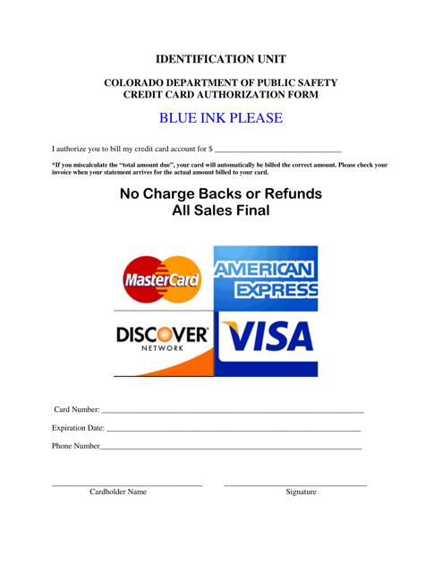 """Credit Card Authorization Form"" - Colorado Download Pdf"