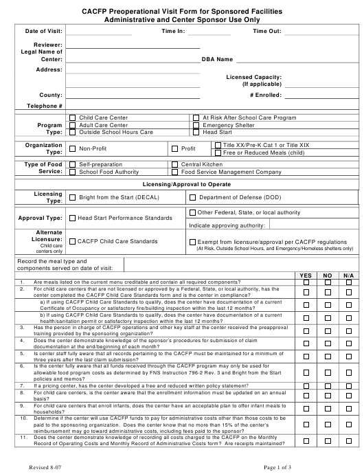 """CACFP Preoperational Visit Form for Sponsored Facilities"" - Georgia (United States) Download Pdf"