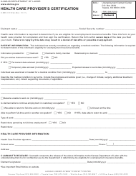 "Form K-BEN312 ""Health Care Provider's Certification"" - Kansas"
