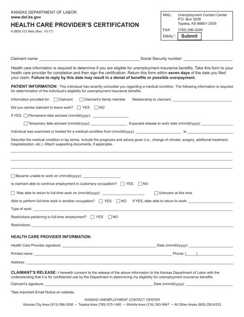 Form K-BEN312  Printable Pdf