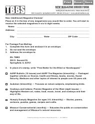 "Form ISL TBBS24 ""New Magazine Order Form"" - Illinois"
