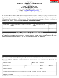 "Form OC-88 ""Request for Driver Evaluation"" - Michigan"