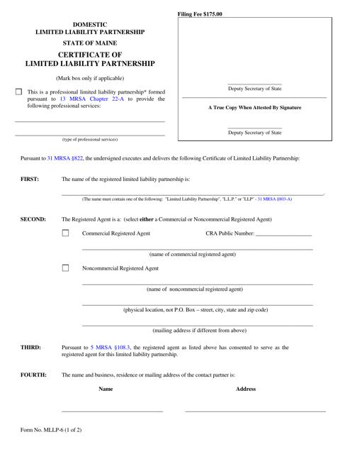 Form MLLP-6  Printable Pdf