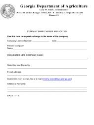 "Form SPCS-11-12 ""Company Name Change Application"" - Georgia (United States)"