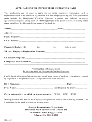 "Form SPS-13-19 ""Application for Employee Registration Card"" - Georgia (United States)"