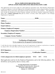 "Form SPS-13-18 ""Dual Employee Registration Application for Employee Registration Card"" - Georgia (United States)"