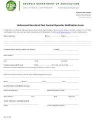 "Form SPS14-05 ""Unlicensed Structural Pest Control Operator Notification Form"" - Georgia (United States)"