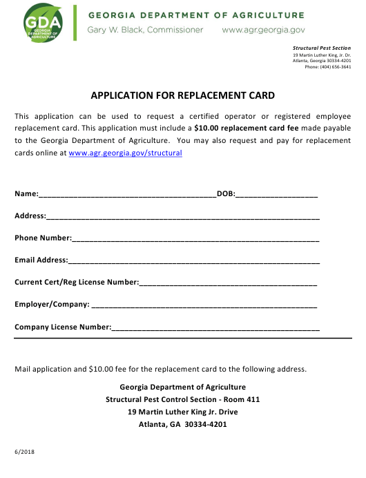"""Application for Replacement Card"" - Georgia (United States) Download Pdf"