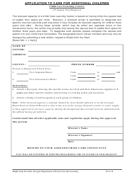 """Application to Care for Additional Children (25 Square Foot Request)"" - Georgia (United States)"