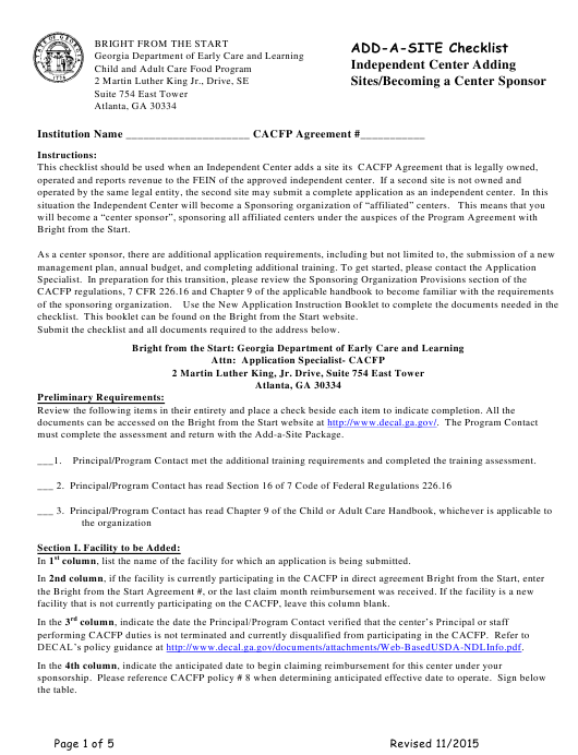 """""""Add-A-site Checklist - Independent Center Adding Sites/Becoming a Center Sponsor"""" - Georgia (United States) Download Pdf"""